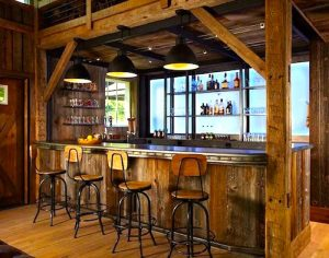 walk up bar at barn venue
