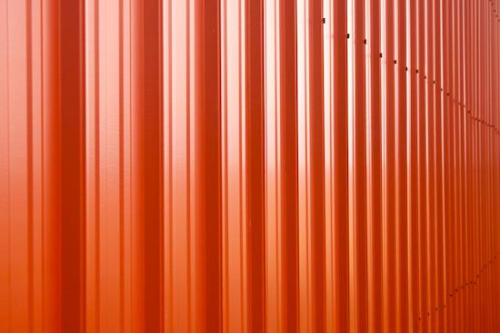 metal siding on the barn.