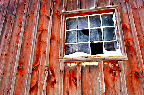 broken windows on farm in Oklahoma
